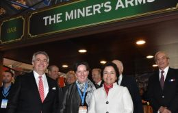 Chilean Mining Minister, Aurora Williams, Ambassador Fiona Clouder, and UKTI-Chile Director inaugurate the British Pavilion at Expomin 2016