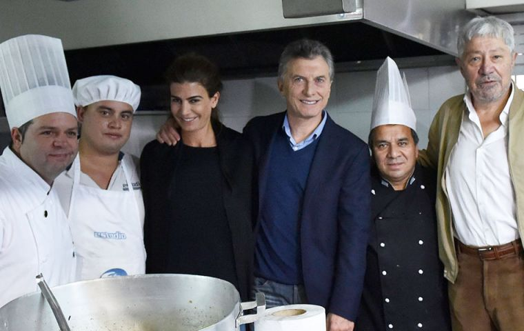Macri was joined by First Lady Juliana Awada and Cabinet Chief Marcos Peña among other officials at the food workers union, May first celebration