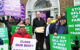 "The Irish Cattle and Sheep Farmers' Association (ICSA), which staged the protest described the offer from EU Commissioner Malmström as ""reckless concessions""."