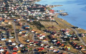 Most Falkland Islanders live in houses as can be appreciated in this landscape view of Stanley