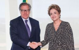 In what could be one of her final meetings as president, Rousseff received the secretary general of the Organization of American States on Tuesday