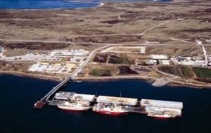 Air view of FIPASS, Falklands Interim Port and Storage System, through which most of the Islands trade is channeled