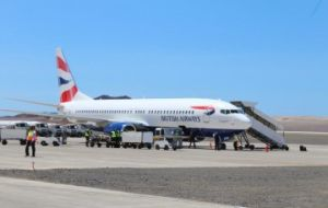 First Comair/BA Boeing 737-800 parked at HLE St Helena Airport