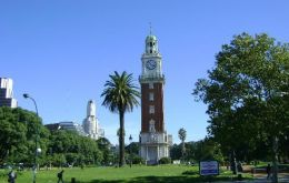 The 60-metre Palladian clock tower was a gift from the city's British community to mark the centenary of Argentina's 1810 revolution