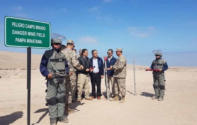 """The number of minefields in Chile was 194, it's down to 140, which means 54 are pending, in the regions of Antofagasta and Magallanes"", revealed Colonel Ventura."