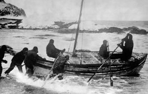 On 24 April 1916 Shackleton and five of his men began an epic 800-mile open-boat voyage to South Georgia, leaving the remaining 22 men behind on Elephant Island