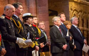 Prime Minister David Cameron, German President Joachim Gauck and Scotland's First MInister Nicola Sturgeon attended the Kirkwall service