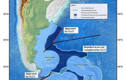 Comparison of the Argentine submission with the area approved by CLCS