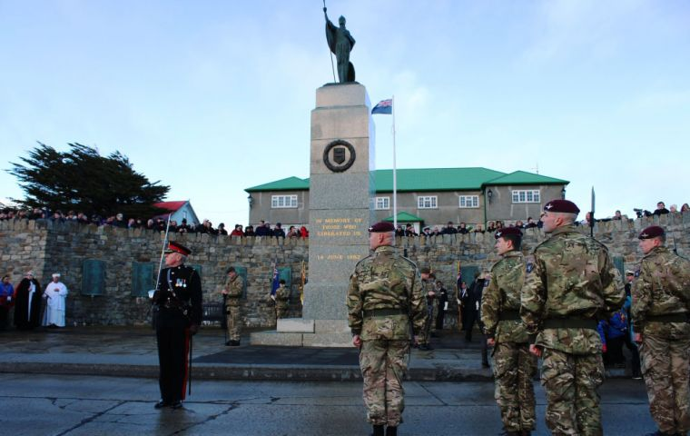 A ceremony is held at the Liberation Monument each year on the 14th June to mark the end of the Falklands War and to honour those who fought during the conflict, and was lead by Parade Commander Major
