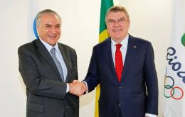 "Bach said ""we have confidence in Brazilian democracy."" Bach and Temer met at the Barra de Tijuca Olympic Park, the largest venue for the Games."