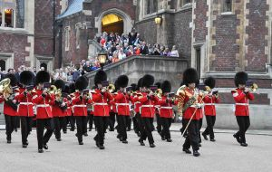 The Band of the Grenadier Guards playing outside Lincoln's Inn