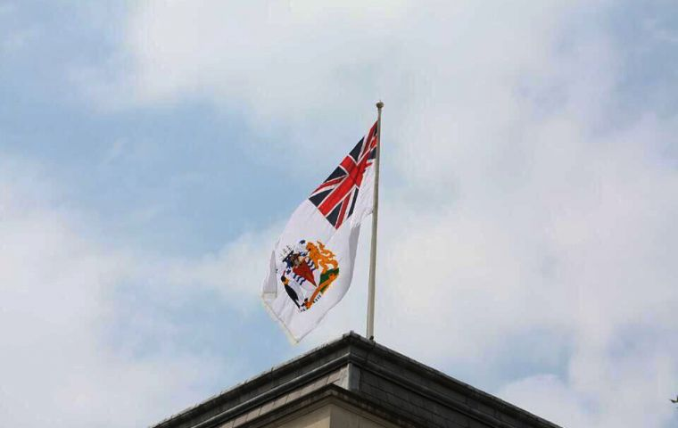 British Antarctic Territory flag flying above Foreign and Commonwealth Office on 21st June