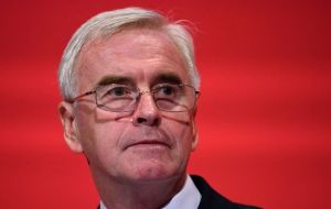 Labour's Shadow chancellor John McDonnell said the Bank of England may have to intervene to shore up the pound, which lost 3% within moments of first results