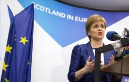 Sturgeon has said that Scotland, where voters backed staying in the EU by a near 2-1 majority, must not be dragged out of the EU against its will.