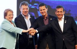 President Michelle Bachelet will be joined by her Alliance peers, Ollanta Humala (Peru); Juan Manuel Santos (Colombia), and Enrique Pena Nieto from Mexico.