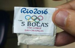 "The cocaine envelop with the Olympics logo and colored rings, and obviously the warning, ""Keep away from children"""