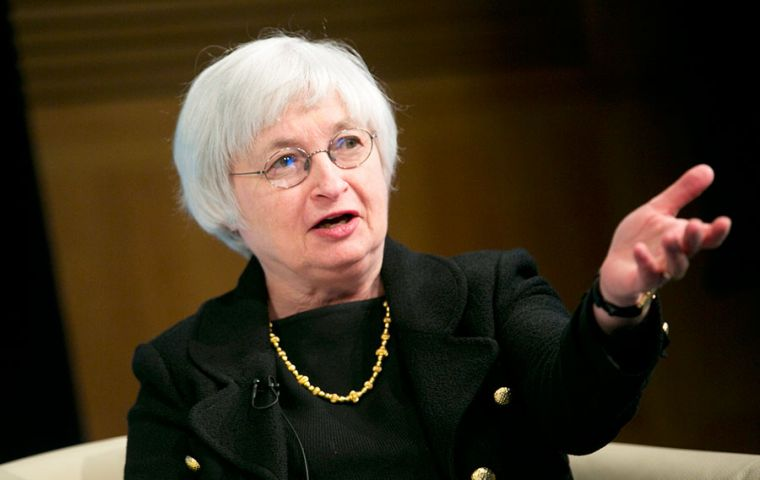 Fed chair Janet Yellen at the press conference following the cautious FOMC release