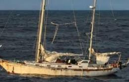 """La Sanmartiniana"" was discovered abandoned and adrift in the Falklands waters by Fisheries Protection Patrol Protegat and towed to Stanley."