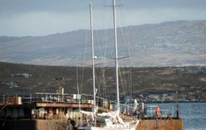 Since it was found in October last year, the Argentine flagged yacht has been docked at Stanley's floating docks.
