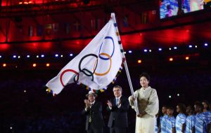 The Olympic flag is handed to Tokyo mayor ceremony to Yuriro Koike by Rio mayor Eduardo Paes