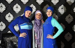 Aheda Zanetti,(C) who claims the trademark on the name burkini and burqini, said online sales were up by 200%.