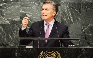 In his first speech to the UN General Assembly Macri effectively called on UK to begin a dialogue on the Falklands/Malvinas question.