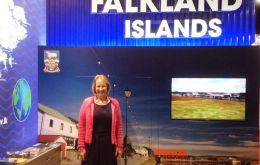 Ms Sukey Cameron MBE managing the Falklands' stall