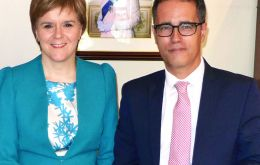 Deputy Chief Minister Joseph Garcia next to First Minister Nicola Sturgeon during the SNP conference in Glasgow