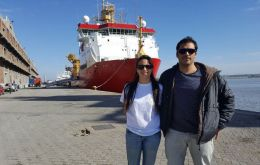 Federico Weinstein and Carolina Rodríguez are travelling on HMS Protector on a scientific cruise to Antarctica (Pics; British Embassy Uruguay)
