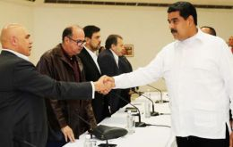 Maduro met in Caracas with five opposition leaders, including Democratic Unity coalition secretary-general Jesus Torrealba and opposition governor Henri Falcon.