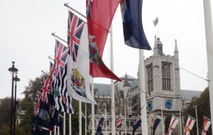 British Overseas Territories flags flying in Parliament Square