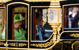 The Queen and the President of Colombia Juan Manuel Santos Horse Guards Parade at the start of Colombia's first ever State Visit to the UK.