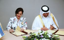 : Argentina's Vicepresident Gabriela Michetti and Qatari Economy Minister Sheik Ahmed bin Jassim Al Thani sign the agreement