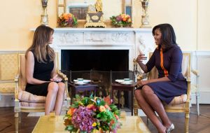 First lady Michelle Obama and future first lady Melania Trump met in the White House residence while their husbands sat together in the Oval Office.