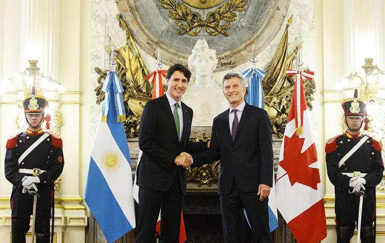 "Macri and Trudeau said ""the challenge we're facing now is to demonstrate that we can create trade deals that give benefits to small and medium-sized enterprises"""
