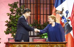 The Presidents of Chile and China Xi Jinping and Michelle Bachelet at the ECLAC Media Summit in Santiago