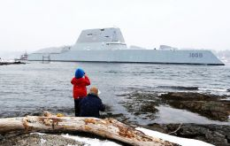 USS Zumwalt is 180 meters long warship and has an angular shape to minimize its radar signature. It cost more than US$4.4 billion