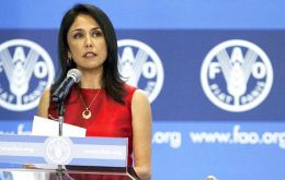 United Nations said Nadine Heredia would remain an FAO employee but she would not take her post until the corruption investigation concludes.