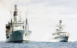 The Type 23 Frigate HMS Portland is making its first visit to Chile along with Royal Fleet Auxiliary RFA Gold Rover.