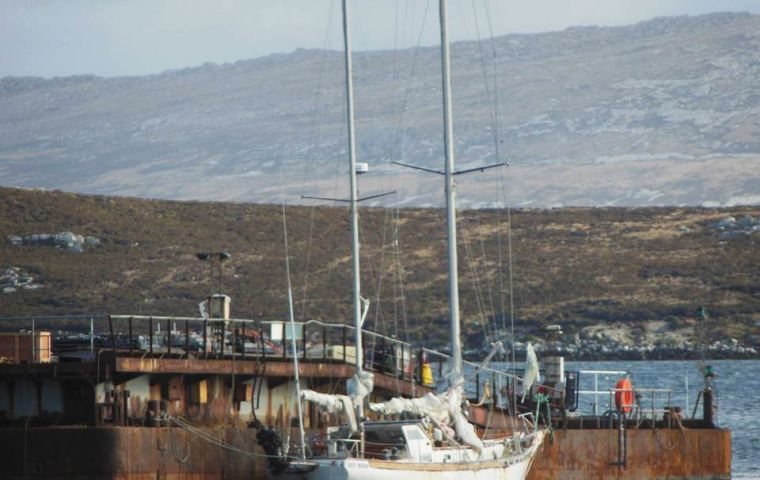 The vessel spent over a year in the Falklands after it was rescued abandoned and adrift in October last year, Falklands Fisheries Protection vessel, FPV Protegat.