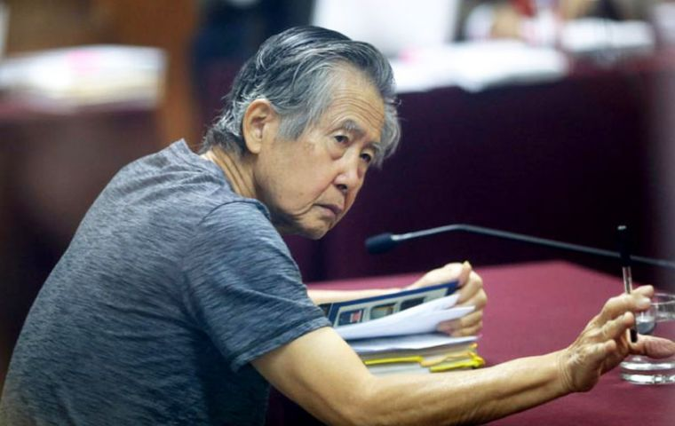 Former Peruvian President Alberto Fujimori, serving a jail sentence for human rights violations, was hospitalized Monday