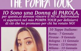 "Italian model says she will deliver her promise to ""No"" voters, unlike Madonna"