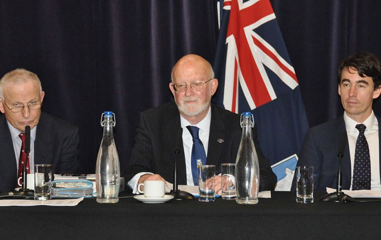 Hon Sec of the Falkland Islands Association and veteran of the 1982 War Lt. Col. Tym Marsh, FIA Chairman Alan Huckle and FIA Treasurer Falkland Islander James Wallace at the AGM.