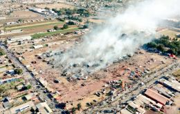 An aerial view of the San Pablito market after the explosion
