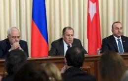 From left to right: Foreign Ministers Mohammad Javad Zarif (Iran), Sergei Lavrov (Russia) and Mevlut Cavusolgu (Turkey) at the summit where the three countries agreed to guarantee that the Syria peace