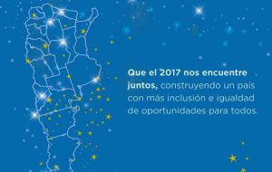 "The ministry twitted a greetings message, ""May 2017 finds us united and in peace"" with a background map of Argentina but without the South Atlantic Islands."