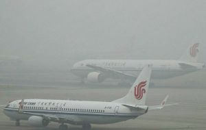 In Beijing flights were canceled at the city's main airport, and all buses from there to neighboring cities suspended.