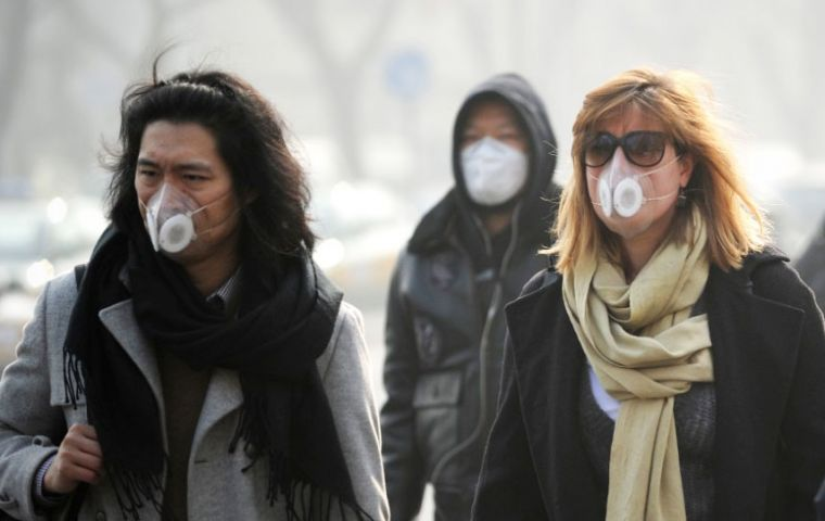 As of Wednesday, the concentration of PM 2.5 in Beijing was 186 ug/m3, seven times higher than what's considered healthy.