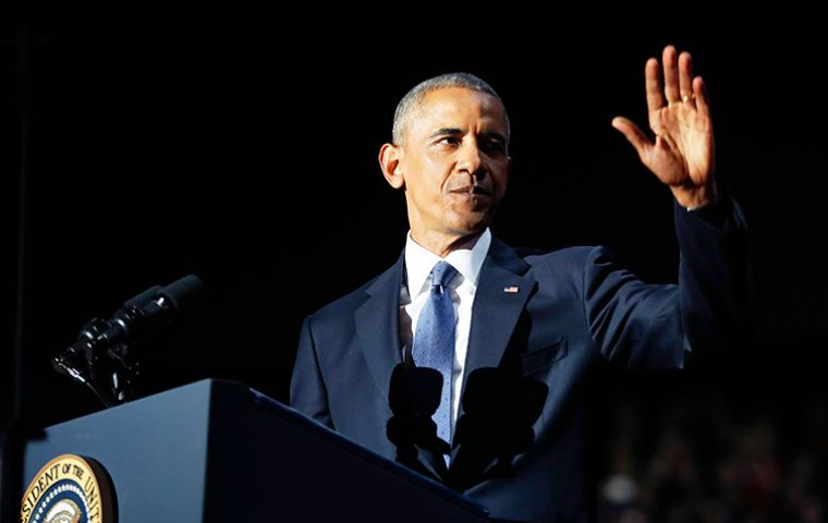 "Capping his eight years in the White House, Obama returned to his adoptive hometown of Chicago to recast his ""yes we can"" campaign credo as ""yes we did""."