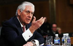 Tillerson said he would take a firm line with Moscow, contradicting Trump's oft-proclaimed determination to improve ties with America's former Cold War foe.